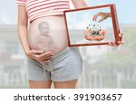 pregnant woman with happy asian ... | Shutterstock . vector #391903657