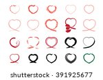 heart icons collection on white ... | Shutterstock .eps vector #391925677