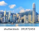 hong kong. victoria harbour and ... | Shutterstock . vector #391972453