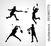 Badminton Players Silhouettes...