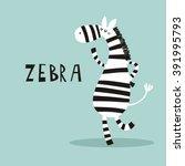 Cartoon Zebra Vector Print