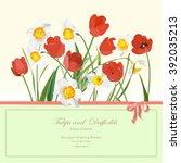 bouquet of spring flowers....   Shutterstock .eps vector #392035213