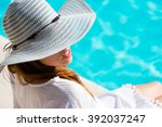 fashion pretty woman on summer... | Shutterstock . vector #392037247