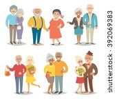 old happy family asian eldery... | Shutterstock .eps vector #392069383