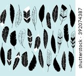 feather silhouettes set.ethnic ... | Shutterstock .eps vector #392074387