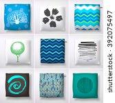 realistic 3d throw pillow... | Shutterstock .eps vector #392075497