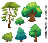 stylized cartoon trees set | Shutterstock .eps vector #392081707