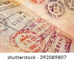 passport page with border... | Shutterstock . vector #392089807
