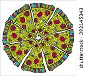 pizza. watercolor style vector ... | Shutterstock .eps vector #392145343
