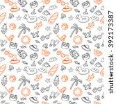 hand drawn seamless summer... | Shutterstock .eps vector #392173387