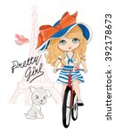 cute girl vector t shirt print... | Shutterstock .eps vector #392178673