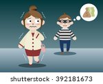 scared business woman is... | Shutterstock .eps vector #392181673