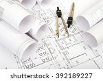 architecture plan and rolls of... | Shutterstock . vector #392189227