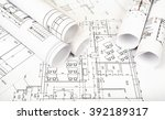 architecture plan and rolls of... | Shutterstock . vector #392189317