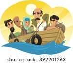 refugees sailing on a raft to... | Shutterstock .eps vector #392201263