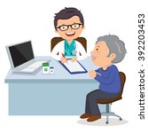 male doctor with senior man.... | Shutterstock .eps vector #392203453