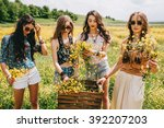 Four Beautiful Hippie Girl In ...