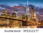 brooklyn bridge at twilight...   Shutterstock . vector #392212177