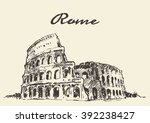 streets in rome  colosseum ... | Shutterstock .eps vector #392238427