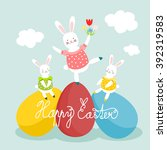 easter rabbits on eggs  easter... | Shutterstock .eps vector #392319583
