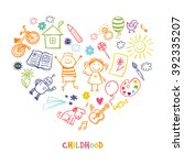 happy children drawing vector... | Shutterstock .eps vector #392335207
