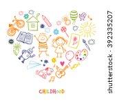 Happy children drawing vector doodle heart | Shutterstock vector #392335207