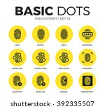 fingerprint flat icons set with ... | Shutterstock .eps vector #392335507