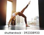 woman yoga practice pose... | Shutterstock . vector #392338933