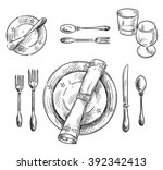 table setting. vector sketch. | Shutterstock .eps vector #392342413