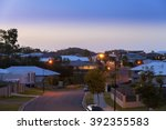 suburban australian street at... | Shutterstock . vector #392355583