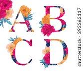 vintage flower alphabet. hand...