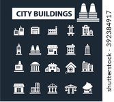 city buildings icons  | Shutterstock .eps vector #392384917