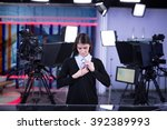 television presenter recording... | Shutterstock . vector #392389993