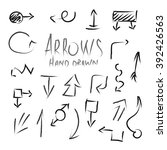 arrows hand drawn set black... | Shutterstock .eps vector #392426563