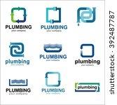 flat logo design for plumbing... | Shutterstock .eps vector #392487787