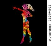 the colorful female silhouette... | Shutterstock .eps vector #392494933