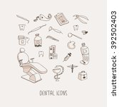 dental care hand drawn vector... | Shutterstock .eps vector #392502403