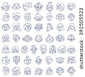 collection of drawn funny faces | Shutterstock .eps vector #392505523