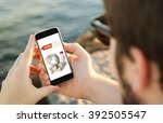 man on the coast using his...   Shutterstock . vector #392505547