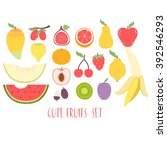 huge set with cute fruits on... | Shutterstock .eps vector #392546293