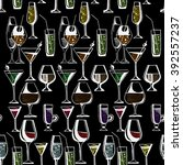 hand drawn pattern of alcohol... | Shutterstock .eps vector #392557237