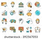 vector business line icons set. ... | Shutterstock .eps vector #392567053