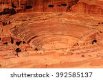 ancient theater in petra  rose... | Shutterstock . vector #392585137