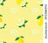 seamless pattern of lemons and... | Shutterstock .eps vector #392588593
