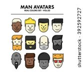 thin flat line man avatars... | Shutterstock .eps vector #392592727