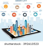 smart city on a digital touch... | Shutterstock .eps vector #392613523