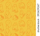 seamless pattern with doodle... | Shutterstock .eps vector #392629267
