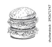 illustration of a burger  big... | Shutterstock .eps vector #392671747