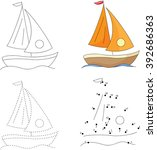 cartoon yacht. dot to dot... | Shutterstock .eps vector #392686363