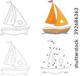 Cartoon Yacht. Dot To Dot...